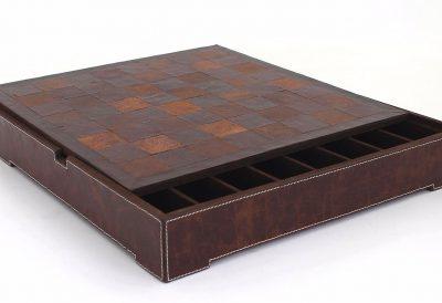 Schachbrett aus echtem Leder mit Aufbewahrungsfach