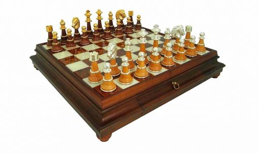 """Schachensemble """"Staunton XL III"""" Schachbrett mit Standfüßen aus Holz Massiv und Spielbrett aus toskanischem Alabaster mit Aufbewahrungsschublade  & Schachfiguren aus Holz und Messing mit Gold-/Silberbeschichtung"""