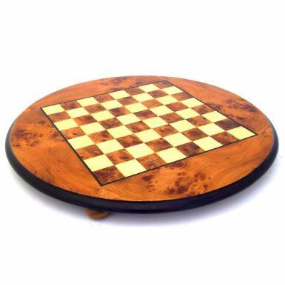 Schachbrett aus Bruyère-Holz und Ulme Rund mit Standfüßen