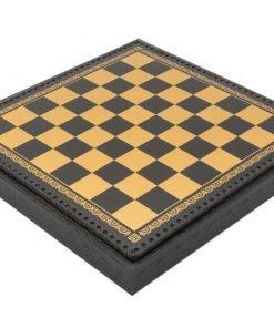 Schachbrett aus Kunstleder Schwarz mit Aufbewahrungsfach