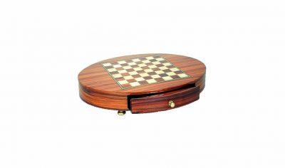 Schachbrett aus Rosenholz Oval mit Standfüßen und Schublade