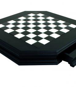 Schachbrett aus Massivholz Schwarz Achteckig mit Schublade