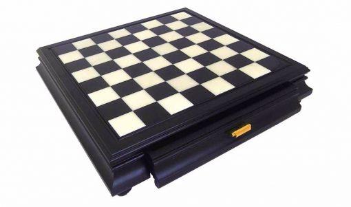 Schachbrett aus Holz und Alabaster Schwarz mit Schublade