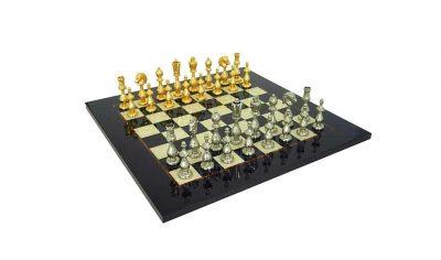 """Schachensemble """"Arabic Style"""" Schachbrett aus Ahorn & Schachfiguren aus Metall mit Gold-/Silberschicht"""