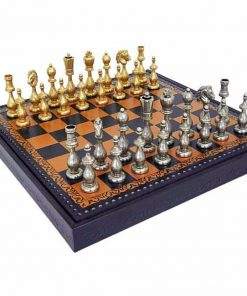 "Schachensemble ""Arabic Style II"" Schachbrett aus Kunstleder & Schachfiguren aus massivem Metall"