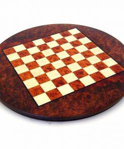 Schachbrett aus Bruyère-Holz und Ulme Rund