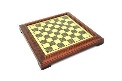 Schachbrett aus Massivholz/Messingeffekt mit Standfüßen