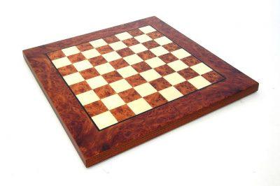 Schachbrett aus Ulme und Bruyèreholz Matt