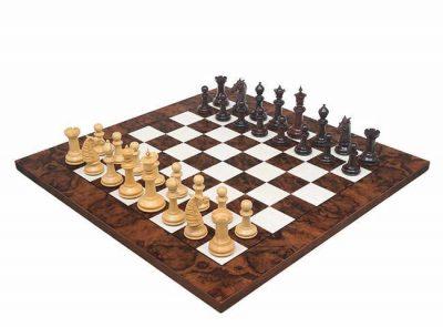 "Schachensemble ""Rosenholz Luxus"" Schachbrett aus Nussbaum Dunkel & Schachfiguren aus Rosenholz Massiv"