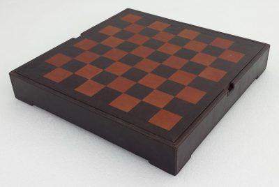 Schachbrett aus echtem Leder Dunkelbraun mit Aufbewahrungsfach