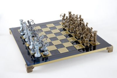 "Schachensemble ""Bogenschützen IX"" Großes Schachset Braun&Blau & Schachbrett Gold/Blau"