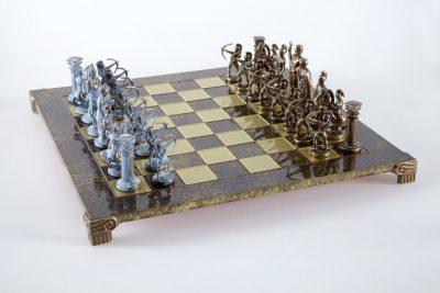 "Schachensemble ""Bogenschützen X"" Großes Schachset Braun/Blau & Schachbrett Gold/Braun"