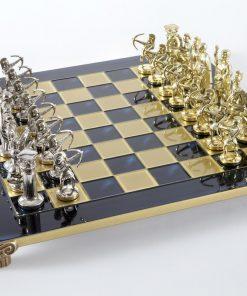 """Schachensemble """"Bogenschützen V"""" Großes Schachset Gold/Silber & Schachbrett Blau/Gold"""