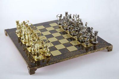 """Schachensemble """"Bogenschützen VI"""" Großes Schachset Gold/Silber & Schachbrett Braun/Gold"""