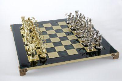 """Schachensemble """"Bogenschützen VII"""" Großes Schachset Gold/Silber & Schachbrett Grün/Gold"""