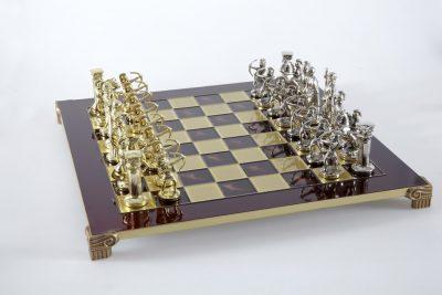 """Schachensemble """"Bogenschützen VIII"""" Großes Schachset Gold/Silber & Schachbrett Rot/Gold"""
