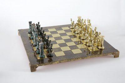 """""""Römisches und griechisches Zeitalter XV"""" Schachspiel Groß Metall Gold und Grün und Schachbrett Braun"""