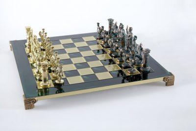 """""""Römisches und griechisches Zeitalter XIV"""" Schachspiel Groß Metall Gold und Grün und Schachbrett Grün"""