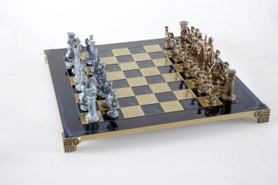 """""""Römisches und griechisches Zeitalter XVII"""" Schachspiel Groß Metall Blau und Braun und Schachbrett Blau"""