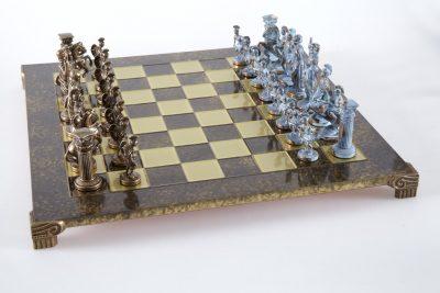 """""""Römisches und griechisches Zeitalter XVIII"""" Schachspiel Groß Metall Blau und Braun und Schachbrett Braun"""