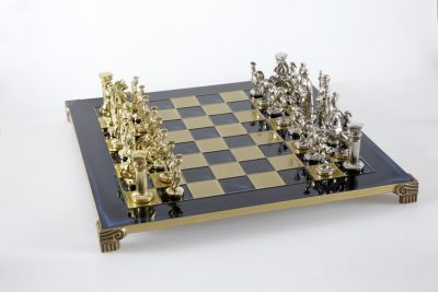 """""""Römisches und griechisches Zeitalter XI"""" Schachspiel Groß Metall Gold und Silber und Schachbrett Blau"""
