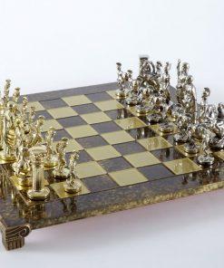 """""""Römisches und griechisches Zeitalter XVI"""" Schachspiel Groß Metall Gold und Silber und Schachbrett Braun"""