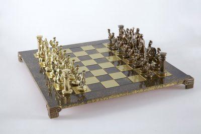 """""""Römisches und griechisches Zeitalter XXXII"""" Schachspiel Groß Metall Gold/Braun und Schachbrett Braun"""