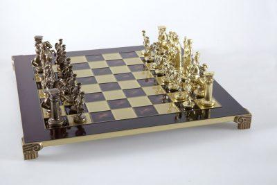 """""""Römisches und griechisches Zeitalter XIX"""" Schachspiel Groß Metall Gold und Braun und Schachbrett Rot"""