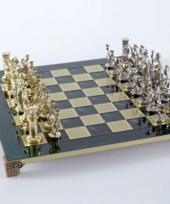 """""""Römisches und griechisches Zeitalter XII"""" Schachspiel Groß Metall Gold und Silber und Schachbrett Grün"""