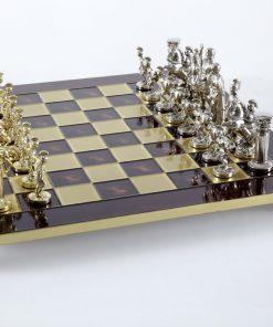 """""""Römisches und griechisches Zeitalter XIII"""" Schachspiel Groß Metall Gold und Silber und Schachbrett Rot"""