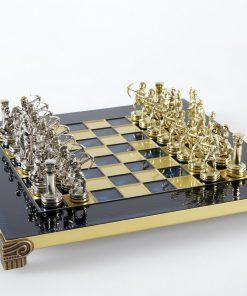 """Schachensemble """"Bogenschützen III"""" Schachset aus Metall Gold/Silber & Schachbrett Gold/Blau"""
