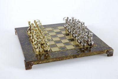 """Schachensemble """"Bogenschützen IV"""" Schachset aus Metall Gold/Silber & Schachbrett Braun/Gold"""