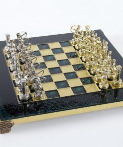 """Schachensemble """"Bogenschützen I"""" Schachset aus Metall Gold/Silber & Schachbrett Gold/Grün"""