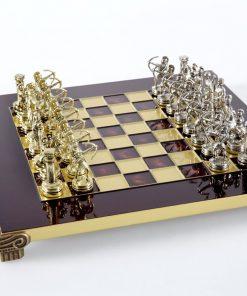 """Schachensemble """"Bogenschützen II"""" Schachset aus Metall Gold/Silber & Schachbrett Gold/Rot"""