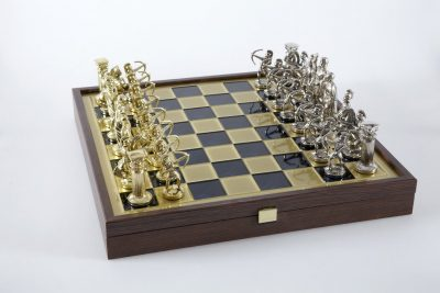 """Schachensemble """"Bogenschützen XI"""" Großes Schachset Gold/Silber & Schachbrett Gold/Blau mit Aufbewahrungsfach"""