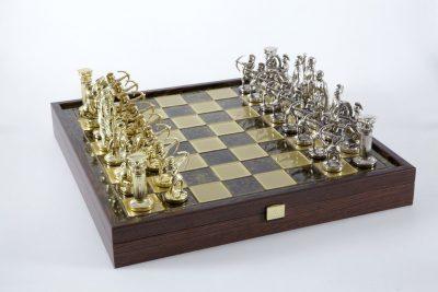 """Schachensemble """"Bogenschützen XIII"""" Großes Schachset Gold/Silber & Schachbrett Gold/Braun mit Aufbewahrungsfach"""