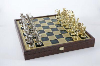 "Schachensemble ""Bogenschützen XIV"" Großes Schachset Gold/Silber & Schachbrett Gold/Grün mit Aufbewahrungsfach"