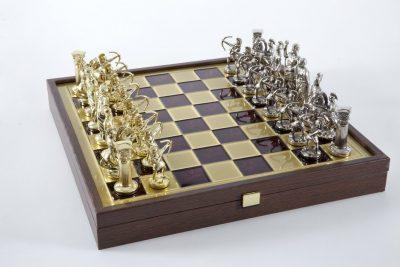 """Schachensemble """"Bogenschützen XII"""" Großes Schachset Gold/Silber & Schachbrett Gold/Rot mit Aufbewahrungsfach"""