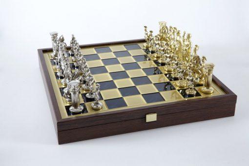 """""""Römisches und griechisches Zeitalter XXVII"""" Schachspiel Groß Metall Gold/Silber und Schachbrett Blau/Gold mit Stauraum im Inneren"""