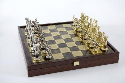 """""""Römisches und griechisches Zeitalter XXXI"""" Schachspiel Groß Metall Gold/Silber und Schachbrett Braun/Gold mit Stauraum im Inneren"""