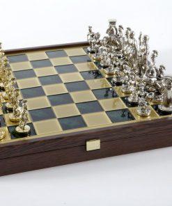"""""""Römisches und griechisches Zeitalter XXX"""" Schachspiel Groß Metall Gold/Silber und Schachbrett Grün/Gold mit Stauraum im Inneren"""