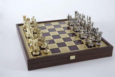 """""""Römisches und griechisches Zeitalter XXIX"""" Schachspiel Groß Metall Gold/Silber und Schachbrett Rot/Gold mit Stauraum im Inneren"""