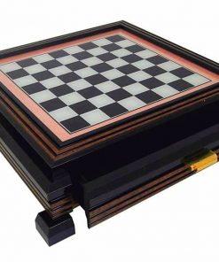 Schachbrett aus Massivholz Lackiert mit Standfüßen und Spielbrett aus Glas mit Schublade