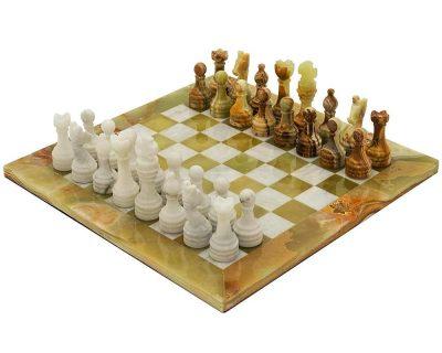 """Schachensemble """"Alghero"""" Schachbrett und Schachset aus Onyx"""