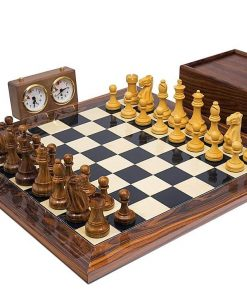"""Schachensemble """"Broadbase Club"""" Schachbrett aus Palisander Massivholz und Wurzelholz"""