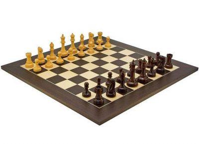 """Schachensemble """"Broadbase II"""" Schachbrett aus Wenge und Ahorn & Schachfiguren aus Rosenholz"""
