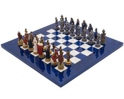 """Schachensemble """"Camelot König Artus VIII"""" Schachbrett aus Ahorn Blau & Schachfiguren aus Kunstharz"""