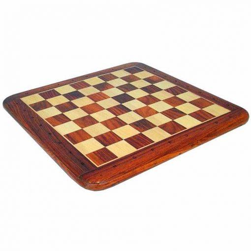 Schachbrett aus edlem Rosenholz und Ahorn mit alphanumerischen Koordinaten