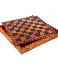 Schachbrett aus Kunstleder Holz Natur mit Aufbewahrungsfach