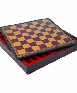 Schachbrett aus Kunstleder Bordeauxrot mit Aufbewahrungsfach